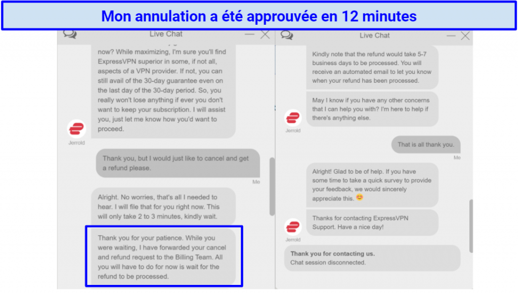 Screenshot of Live Chat with ExpressVPN where my cancellation is approved