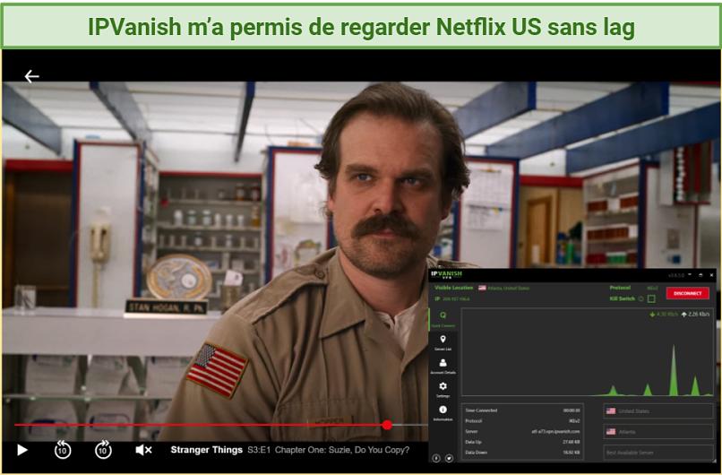 Screenshot of Stranger Things streaming on Netflix player unblocked with IPVanish